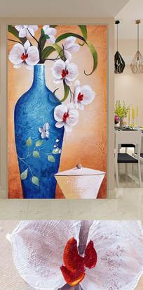 手绘复古花瓶玄关装饰画