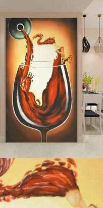 手绘红酒杯玄关装饰画背景墙