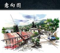 手绘山间道路景观