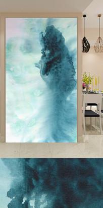 水墨抽象山水画玄关背景墙 TIF