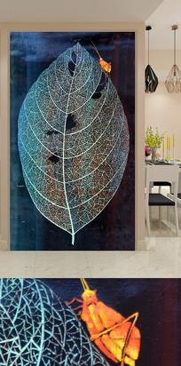 树叶昆虫纹理艺术玄关装饰画