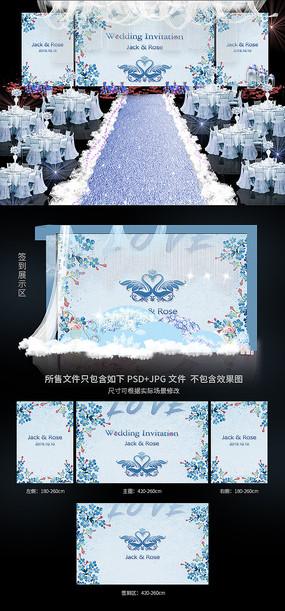 唯美蓝色系婚礼背景效果图模板 PSD