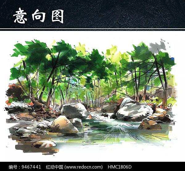小溪水景手绘图图片