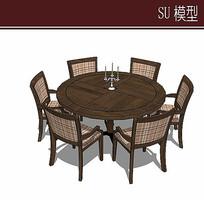 圆形餐桌椅模型