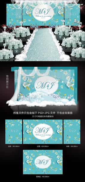 简约唯美立体花朵婚礼背景模板 PSD