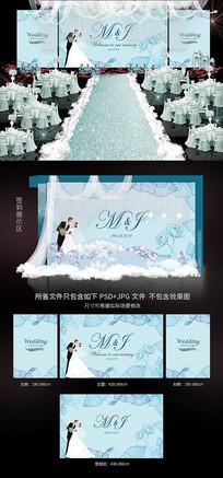 蓝色唯美浪漫婚礼背景模板