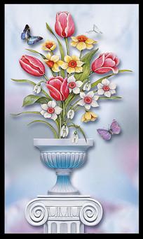 欧式郁金香花朵玄关装饰画