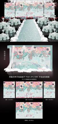 唯美立体花朵婚礼背景图