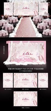 唯美立体花卉婚礼背景效果图
