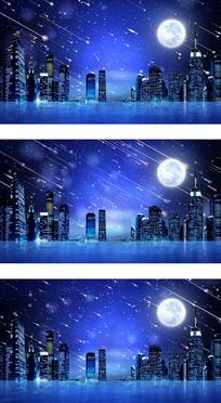 现代都市蓝调夜景流星雨背景视频