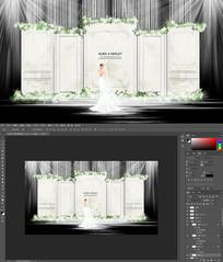 白绿色大理石简约婚礼背景模板