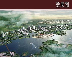 城市滨水景观效果图