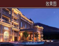 豪华酒店建筑透视图