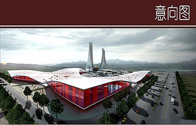 红色玻璃建筑效果图