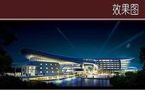 酒店建筑沿湖夜景透视 JPG