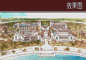 中式酒店入口手绘效果图