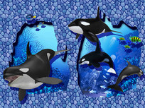 3D海豚背景墙