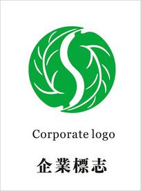 茶叶树叶S地球logo设计