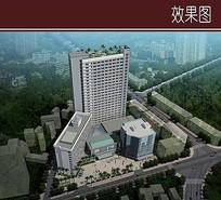 现代酒店建筑鸟瞰图 JPG