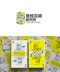 鱼蛙双椒火锅餐饮时尚logo