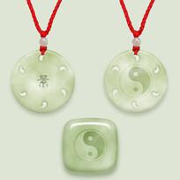 中国风太极纹饰玉佩素材