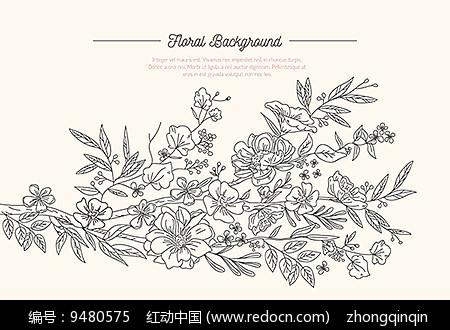 手绘花卉黑白线稿
