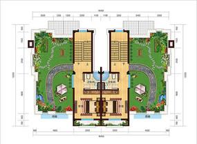 双拼花园别墅户型图平面彩图