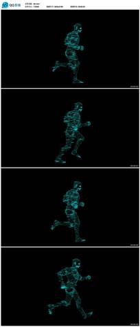 数字全息成像人物奔跑视频