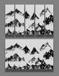 黑白水墨画装饰画电视背景墙