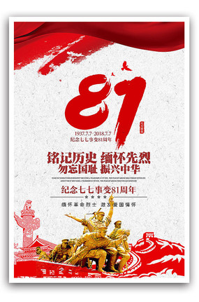 七七卢沟桥事变81周年海报