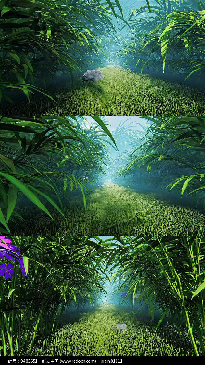 3d森林草丛穿梭背景视频素材