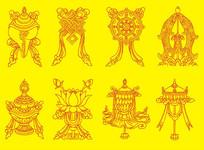 藏传佛教八吉祥图装饰画 CDR