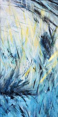 纯手绘抽象草原雪山油画玄关