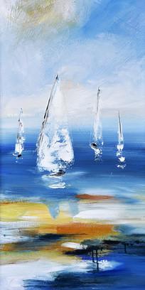 纯手绘抽象一帆风顺油画玄关