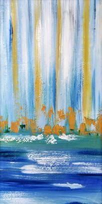 纯手绘抽象艺术线条油画玄关