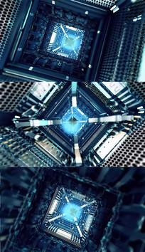 科技计算机隧道背景视频素材