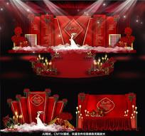 浪漫红色玫瑰时尚主题婚礼背景