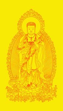 西方三圣阿弥陀佛像装饰画