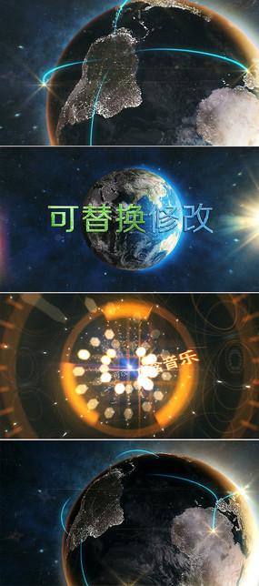 震撼大气地球标题字幕片头模板