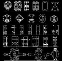 中式双把手门栓CAD图