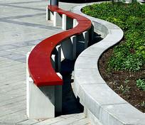 曲线广场树池座凳