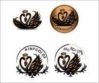 四款标志天鹅LOGO设计