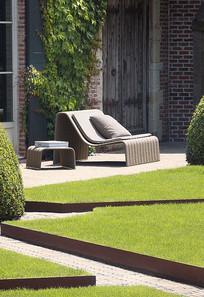 庭院木制流线躺椅