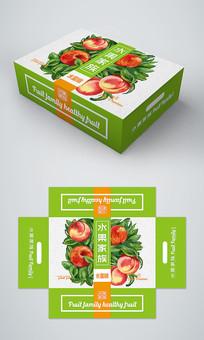 绿色简约高档水蜜桃礼盒包装