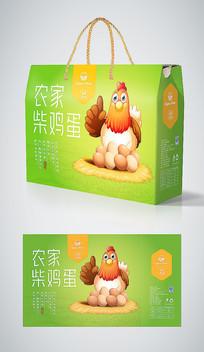 清新绿色手绘农家柴鸡蛋包装