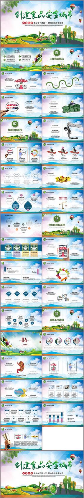 清新食品安全城市PPT模板