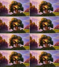 梦幻卡通森林背景视频