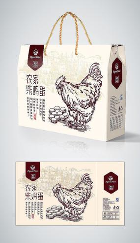 手绘农场有机柴鸡蛋包装