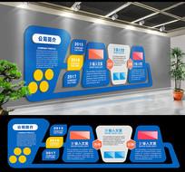 蓝色科技国企企业文化墙设计 CDR