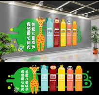 绿色卡通文化墙幼儿园形象墙 CDR